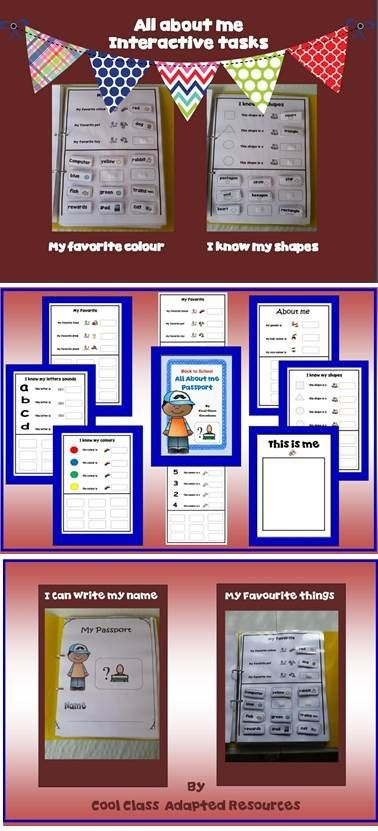 About Me Passport. I have always made my own - but here is, a Velcro workbook for students with Autism  Great resource to help you get to know new students and practice sharing information about themselves.