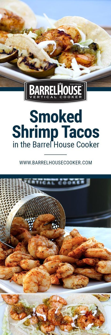 Smoked shrimp seasoned with butter, garlic, cumin, and chipotle chili powder piled onto tacos with cabbage, green salsa, and sour cream. The Barrel House Cooker is a premium barrel cooker designed to make smoked BBQ easy, fast, and delicious for everyone regardless of skill level. Try it risk free for 30 days! #bbq #smokedbbq #grillideas #summergrilling #barbecue #shrimp #tacos #smokedshrimp #shrimptacos #smokedshrimptacos #dinnerideas #BHCbbq