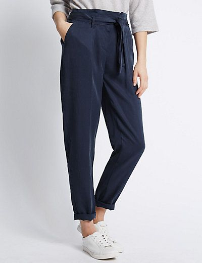 Tencel® Utility Peg Leg Trousers | M&S