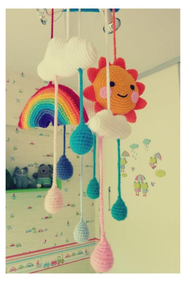 Sun + Clouds + Rainbow + Raindrops The mobile for the twinnies bedroom :) #crochet #amigurumi
