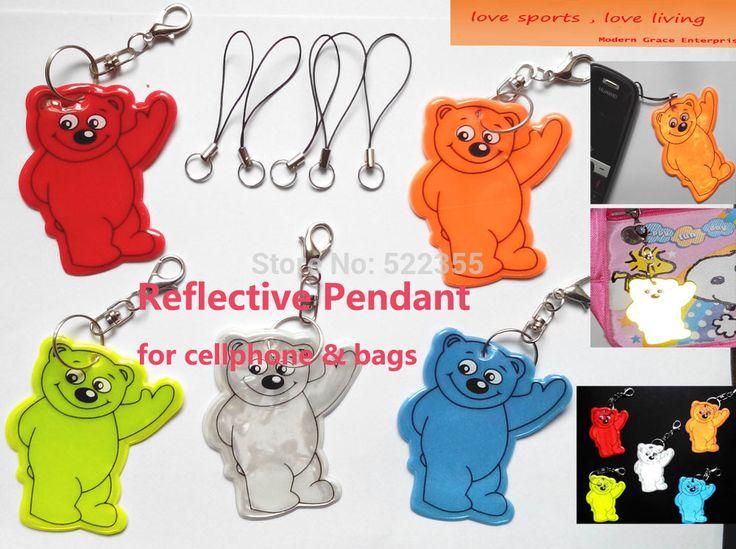 5pcs. Медведь Мобильный телефон кулон, Сумка подвеска аксессуары, светоотражающие брелок для видимость безопасности. бесплатная доставка