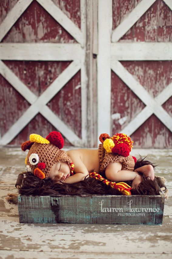 Crochet Baby Turkey Hat and Diaper Cover Set