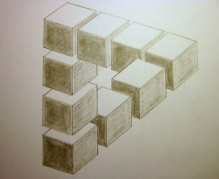 Optical Illusion done in pencil op paper ( HB ) Based on work of the Dutch artist M.C. Escher