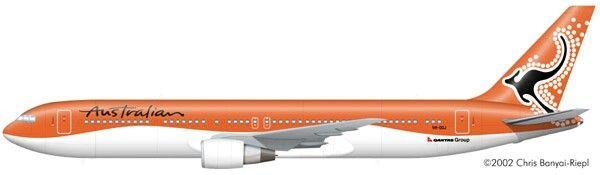 Australian Airlines 767 profile drawing