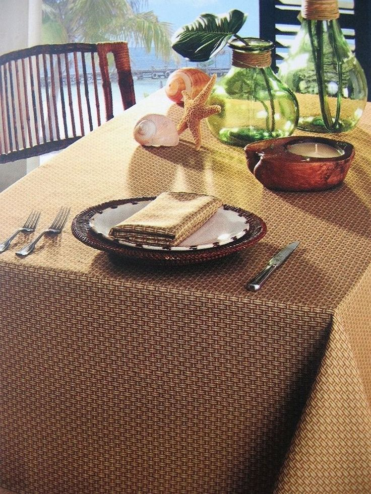 """Tommy Bahama Rattan Wicker 60"""" x 84"""" Oblong Tablecloth Water Repellent Bead Up! #TommyBahama"""