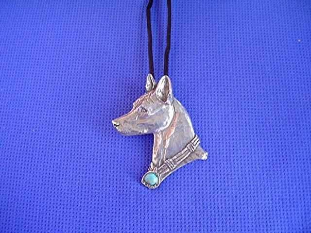 Basenji Turquoise necklace #40K Pewter African Dog Jewelry by Cindy A. Conter