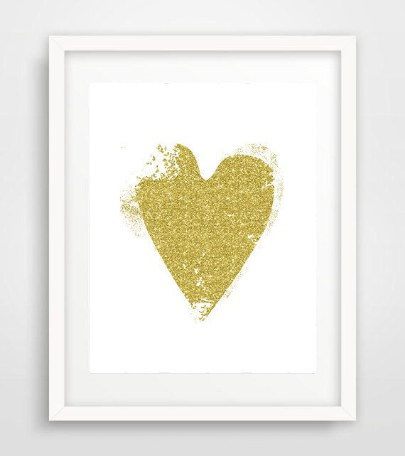 Gold Heart Gold Glitter Heart Gold Heart Wall Print by Ikonolexi