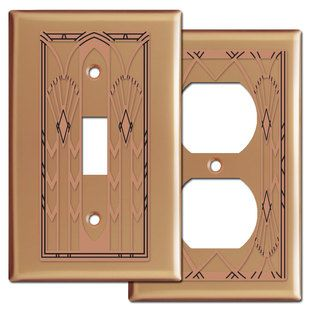 Rich copper Art Deco decorative metal switchplates are handcrafted in USA in 100 sizes to match your decor. Attractive prices, matching switches & outlets at Kyle Switch Plates.