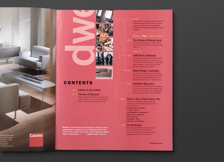 I really like this table of contents page. I think dwell magazine ...
