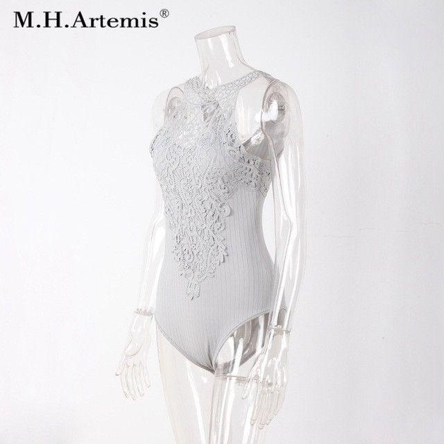 M.H.Artemis Women lace patchwork bodysuit Mint Green Top wear Sexy Halter Romper party overalls leotard playsuits lingerie top