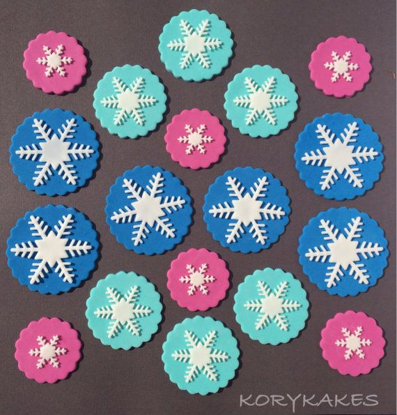 18  Frozen Inspired Fondant Cupcake Toppers Handmade by KORYKAKES, $25.00