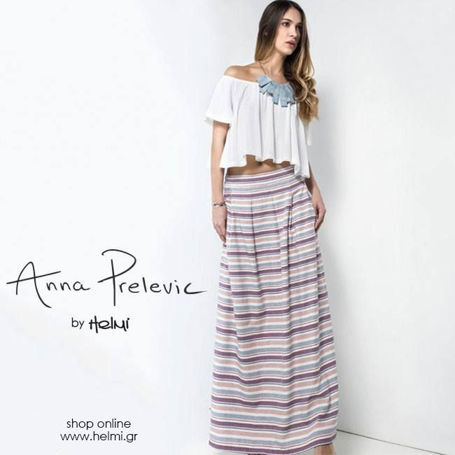 New in!  Φούστα maxi ριγέ Anna Prelevic by Helmi: http://bit.ly/1VUwAlk Top με βολάν Anna Prelevic by Helmi: http://bit.ly/1QykhDt Κολιέ: http://bit.ly/1pB7qdA #annaprelevicbyHelmi #Ss16 #newcollection #Helmi #annaprelevic