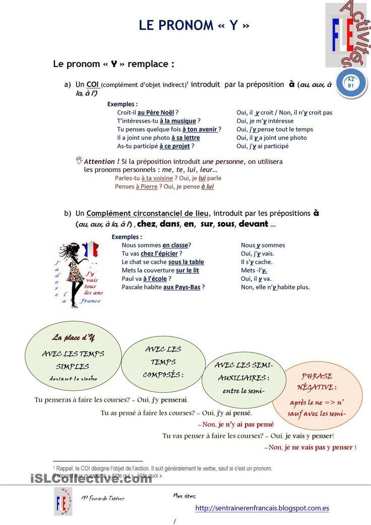 LE PRONOM Y | GRATUIT FLE fiches pédagogiques