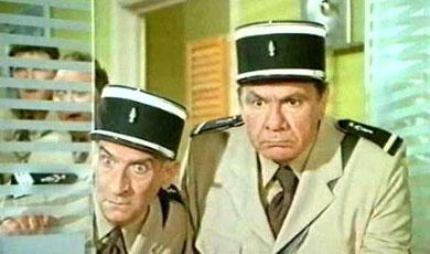Louis de Funes et Michel Galabru dans: Les Gendarmes a Saint Tropez.