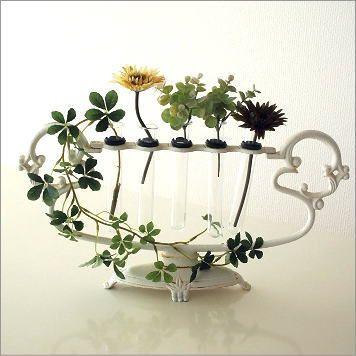 花瓶花挿しガラスベースアイアンホワイト白花台一輪挿しおしゃれアンティークフラワーハープアイアンとガラスのハープベース【楽天市場】