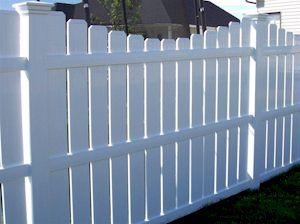 Husker Vinyl Courtyard Version of Semi-Privacy Fencing - White Color Page