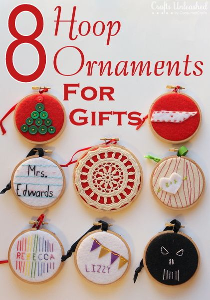 8 handmade embroidery hoop ornaments for everyone on your list!