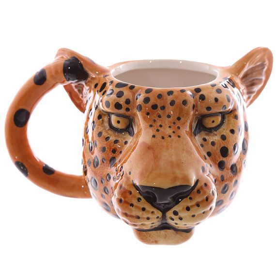 Coffee Mug Leopard Head Shaped Ceramic Animal Mug by getgiftideas