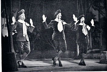 Ivor Evans (far right) in Gilbert and Sullivan's 'Patience', early 1950's.