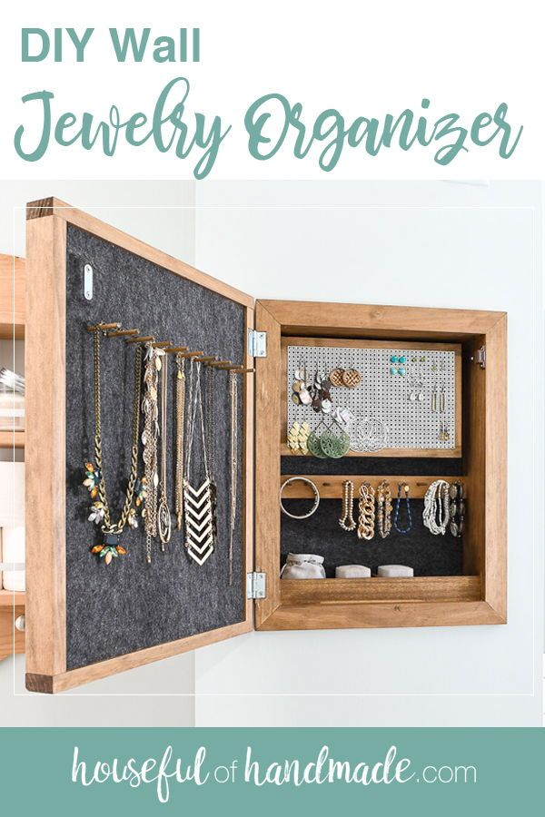 This easy to build wall jewelry organizer will become your new favorite part of any room. The front of the jewelry cabinet is a modern wood sign that you can put any design on. But the inside is where the magic happens. And I partnered with Kreg Toolsand their new project plan site,BuildSomething.com, to share the build plans with you for free! #organization #bedroomorganization #storage
