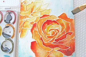 sketch your drawing, outline your sketch in elmers glue, then paint it with water colours