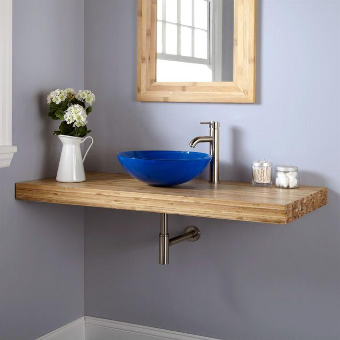"Bathroom Vanity With Vessel Sink Mount: 49"" Bamboo Wall Mount Vanity For Vessel Sink"
