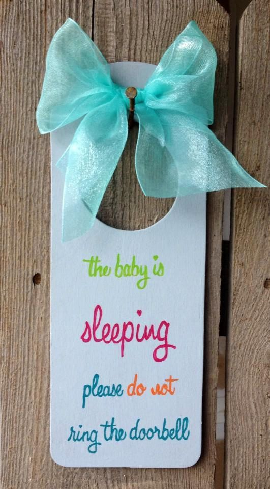 "do not ring doorbell baby sleeping sign | Door sign over the knob ""The baby is sleeping...please do not ring the ..."