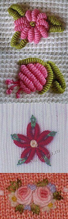 Вышивка по трикотажу и вязанному полотну.