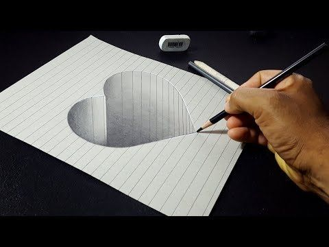 How to Draw 3D Stone Heart – Easy 3D Drawing for Kids – YouTube – Fabienne Cocquyt