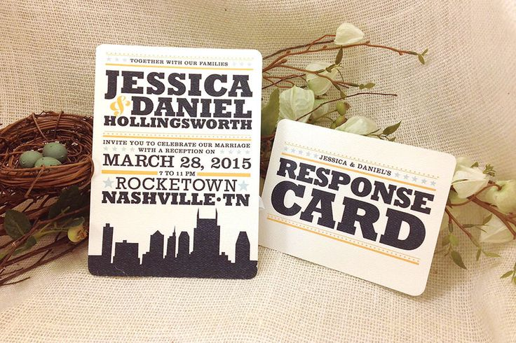 5x7 Hatch Show Print Inspired Nashville City Invitation with RSVP Postcard: Get Started Deposit or DIY Payment by nestingprojectwed on Etsy https://www.etsy.com/listing/218616170/5x7-hatch-show-print-inspired-nashville
