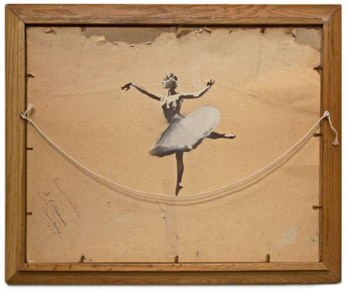 This recent work by Banksy is a beautiful example of reuse. (It could forever change the way many of us look at the backs of old framed paintings!): Work, Idea, Inspiration, Ballerinas, Street Art, Artist, Banksy, Painting, Streetart