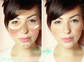 How to create a day glow face look.**The brown is where your bronzer/contour should go. The pink areas are for your blush. The lighter colored spots are where your brightener/highlighter should be placed.