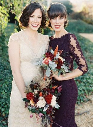 dark purple lace bridesmaid dress