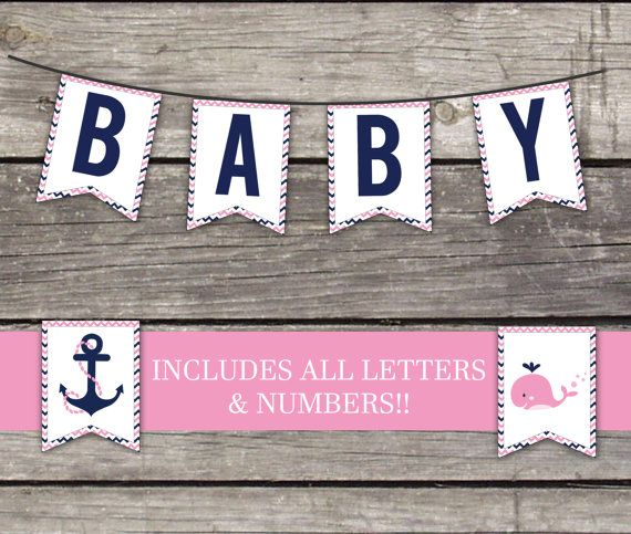 Nautical Girl Flag Bunting Banner - Pink Whale - Baby Shower Games - Anchors Away 216