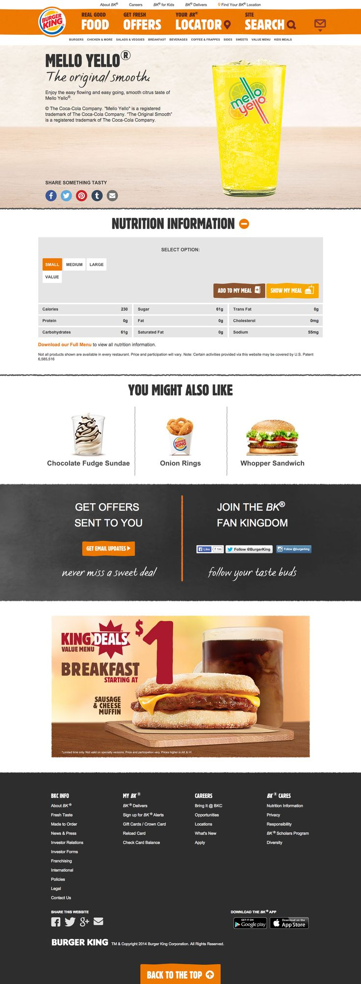 bk.com - Nutrition information