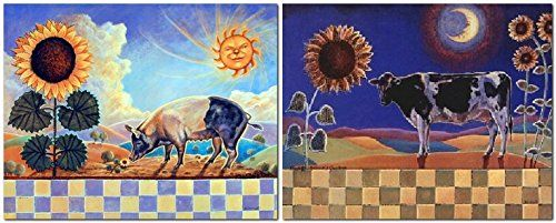 Sunflowers Floral and Country Cow Flowers Two Set Wall De...…