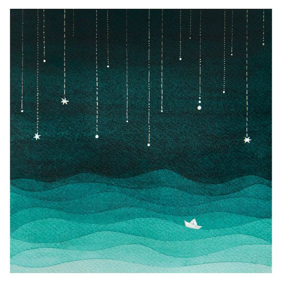Watercolor painting art giclee print sailboat kids wall decor sea home night sky nautical illustration teal emerald green nursery