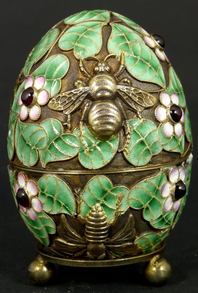 Russian Silver Enameled Egg with Bees - Beautiful