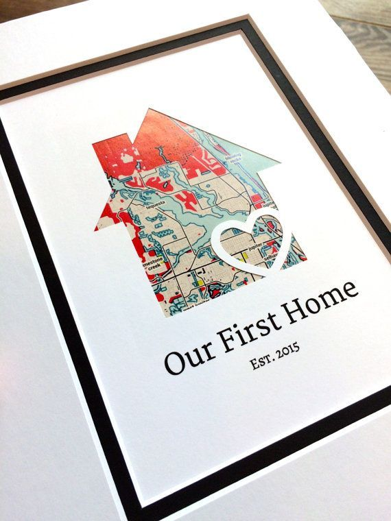 Our First Home Personalized Map Valentine S Day Gift Matted New House Housewarming