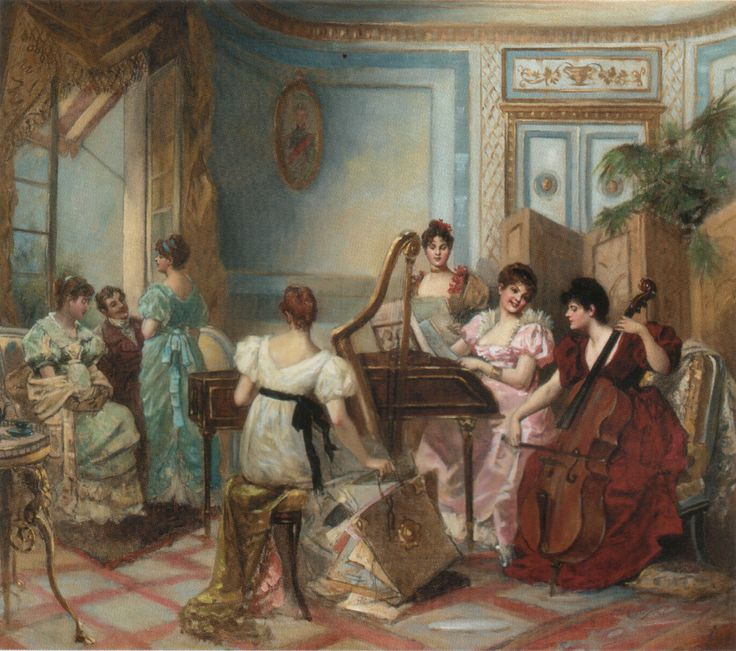 Henri de br val french 19th 20th century the concert in for Salon jacques dumont