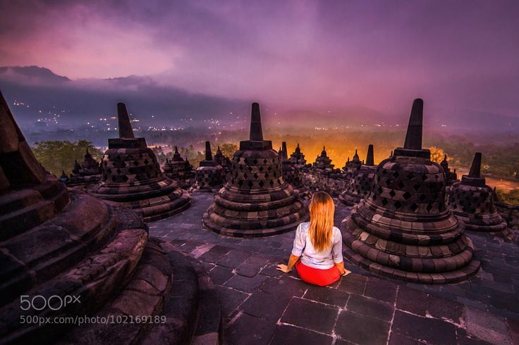 Borobudur before sunrise by AndreyOrlov