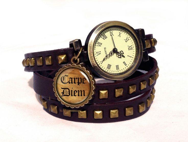 Leather watch bracelet - Carpe Diem, 0507WDBC  from EgginEgg by DaWanda.com