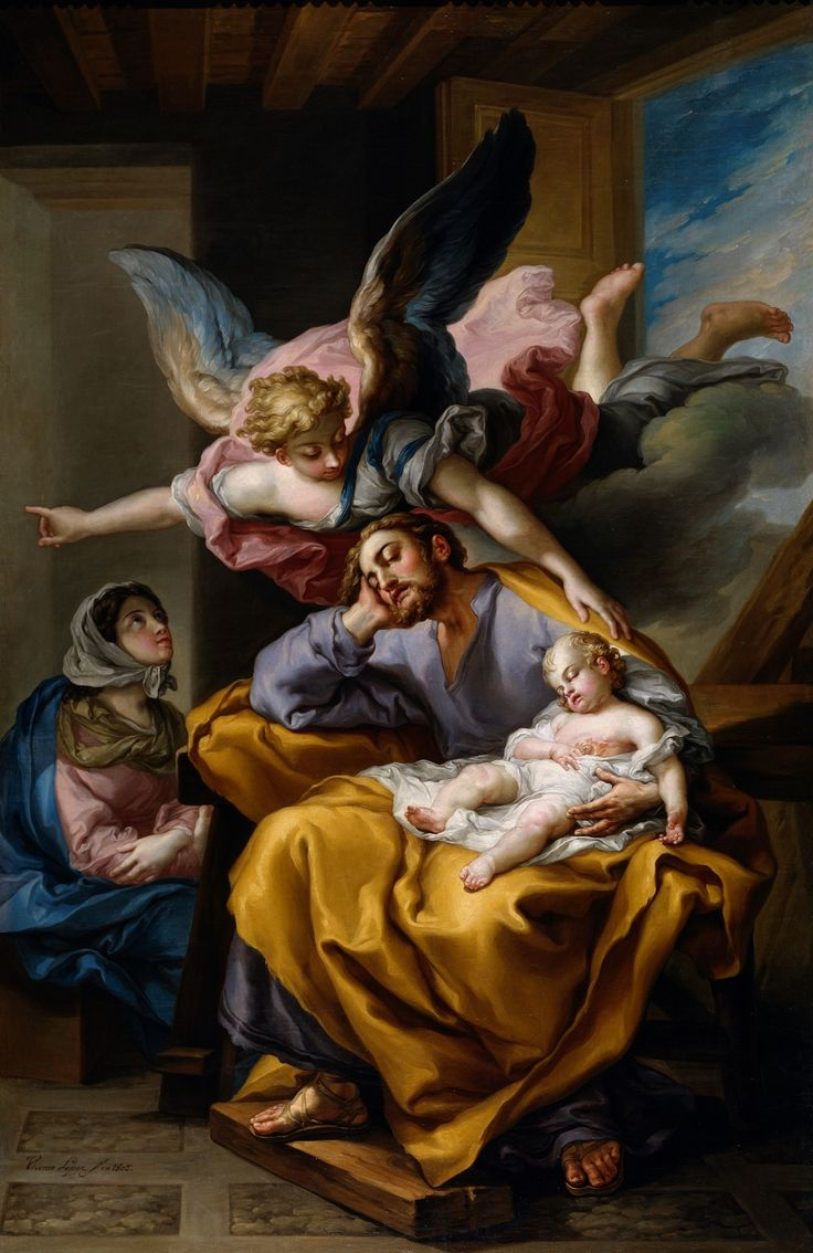 """The angel of the Lord appeared to Joseph in a dream and said,""""Rise,take the child and his mother,flee to Egypt,and stay there until I tell you.Herod is going to search for the child to destroy him.""""Joseph rose and took the child and his mother by night and departed for Egypt._Matthew 2:13-14 // El sueño de San José / Saint Joseph's Dream // 1805 // Vicente López Portaña // #HolyFamily #Jesus #Christ #VirginMary #fatherhood #sacredart #devotional"""
