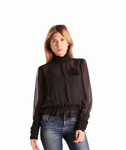 Image result for Black Long Sleeve Sheer Blouse
