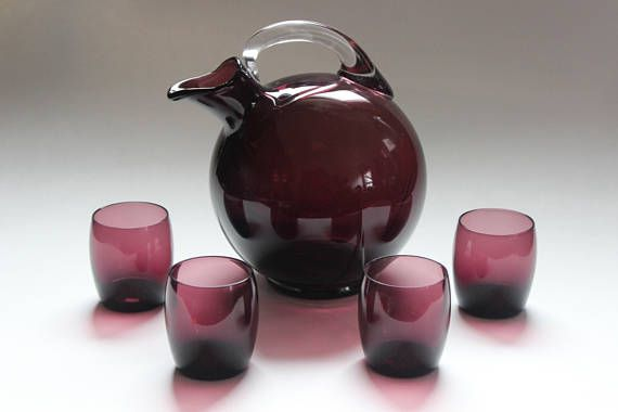 Mid Century Cambridge amethyst decanter and four glasses