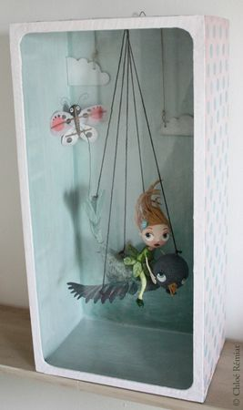 boite poucette 1  **I guess I never realized what a huge fan of shadow box and mixed media art I am!