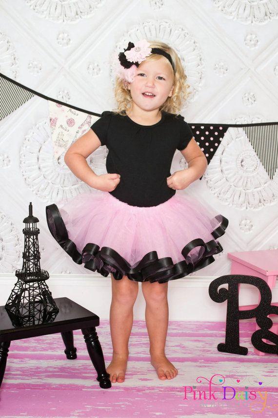 Satin Trim Tutu.Pink and Black Ribbon Trim Tutu. Birthday Tutu. Photo Prop Tutu. Baby Tutu.Baby Girl Tutu. Flower Girl Tutu. Pageant Skirt. on Etsy, $40.00