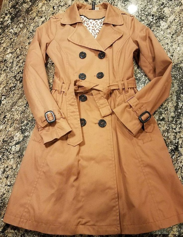 HM WOMENS RAINCOAT BROWN SIZE 8 LONG TRENCH COAT JACKET #HM #Trench