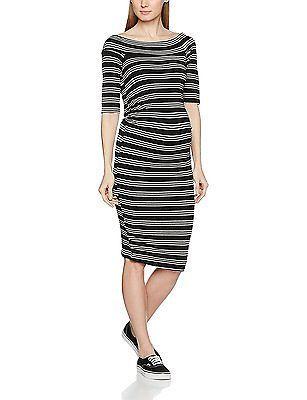 14, Black, Dorothy Perkins Maternity Women's Off the Shoulder Striped Dress NEW
