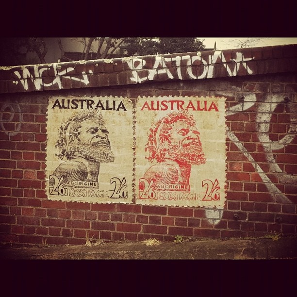 Indigenous stamp paste up; #Footscray street art. #Instagram @Anna Metcalfe